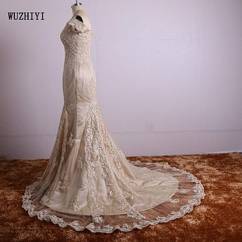 WUZHIYI Real Photo Lace Appliques burgundy prom dresses Long Prom Dresses 2017 Custom made Off the shoulder Prom dress Champagne