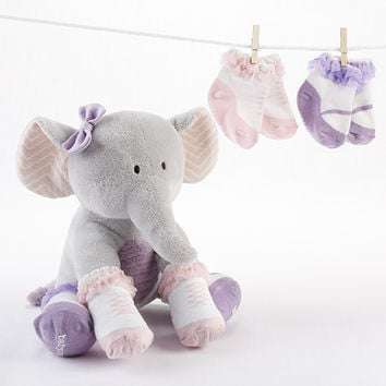 """Tootsie in Footsies"" Plush Elephant and Socks for Baby"