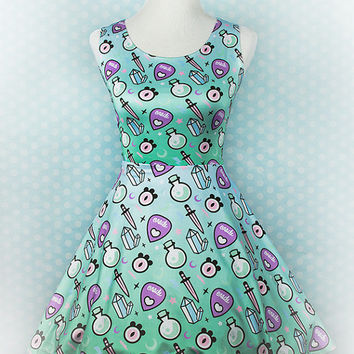 Pastel Oracle Witch Tools Printed Skater Dress Fairy Kei Pastel Goth Kawaii