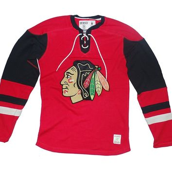 Chicago Blackhawks Mens CCM Jersey Crew Long Sleeve, Red/Black