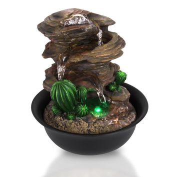 SereneLife 3-Tier Desktop Electric Water Fountain Decor w/ LED