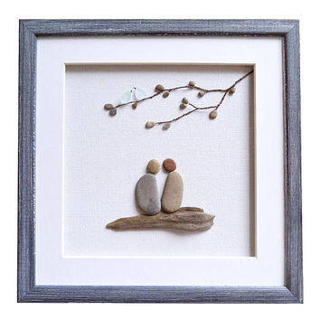 Gift for couple, Pebble art Sea glass art, Romantic gift for her him, Framed birds wall art, Wedding, engagement, new home housewarming gift