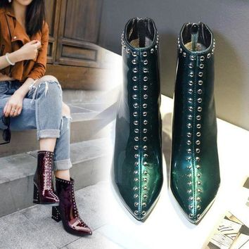 ca PEAPTM4 Hot Deal On Sale Dr. Martens England Style Pointed Toe Plus Size Ankle Green Red Black Boots [11557114055]