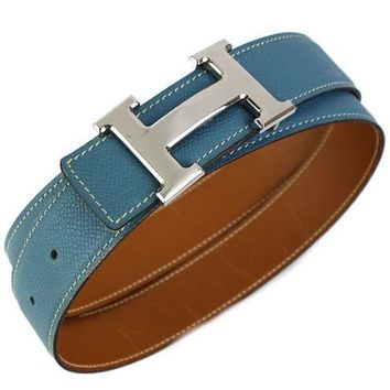 HERMES Constance H Belt Blue Jean Epsom Gold Box Calf Reversible Size 85 #41497