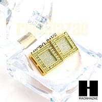 Square Earrings Large Micro Pave Gold Tone Hip Hop Iced Out 18mm Big Bling GE138