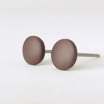 Brown studs matte brown earrings unisex earrings by HouseofShiba