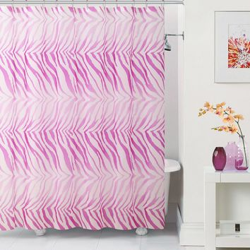 "Royal Bath Pink Zebra PEVA Non-Toxic Shower Curtain - 72"" x 72""with 12 Matching Roller Hooks"