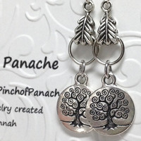 Tree of Life Earrings, Celtic Earrings, Coin Earrings, Tree Earrings, Tree of Life Coins, Sterling Silver Earwires