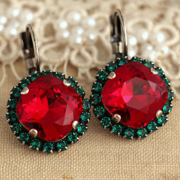 Red Green Crystal earrings, Ruby Emerald Swarovski earrings, Christmas Gift for her, Red Green Christmas Jewelry, Ruby Drop earrings,.