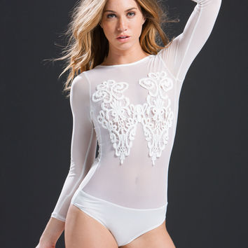 Meet Your Mesh Applique Bodysuit