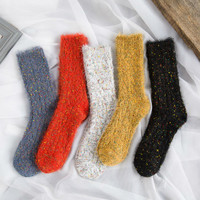 Japanese Cute Women Thermal Socks Winter Kawaii Candy Color Tube Socks Colorful Mohair Thick Terry Sock