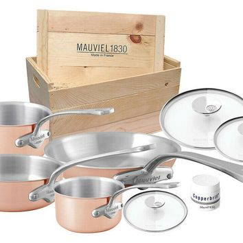 Mauviel M'3s 7 Piece Copper Stainless Steel Handle Cookware Set with Wooden Crate