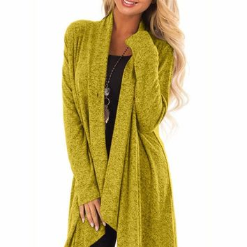 Mustard Draped Open Front Asymmetrical Cardigan