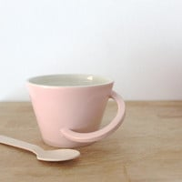 BIG SUMMER SALE Ceramic mug Pastel soft pink Glazed cup Breakfast mug Original handle - ready to ship