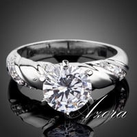AZORA White Gold plated 2ct Round Cut Cubic Zirconia with micro CZ Setting Engagement Rings for woman TR0077