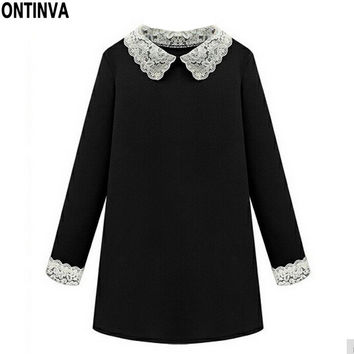 Cute Peter Pan Collar Dress Lace Spring Dresses 2017 Vestido 4XL 5XL Plus Size Women Clothing Black Long Sleeve Robe Femme