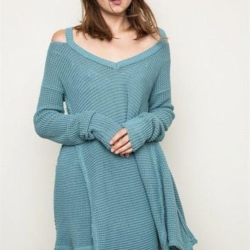 Cali Waffle Knit Sweater - Sage FINAL SALE!
