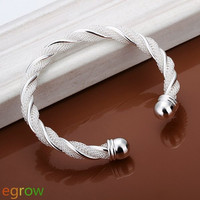Sweet Twisted Silver Plated Bangle Bracelet for Women (Color: Silver) = 1841577028