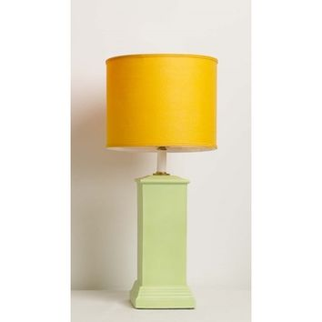Yessica's Collection Green Color Block Square Column Lamp With Orange Drum Shade