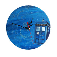Wall Clock Doctor Who theme Hand Painted Tardis Handmade Wooden Clock Unique Clock Wall Art Decor Painting Wizard World Magic OOAK