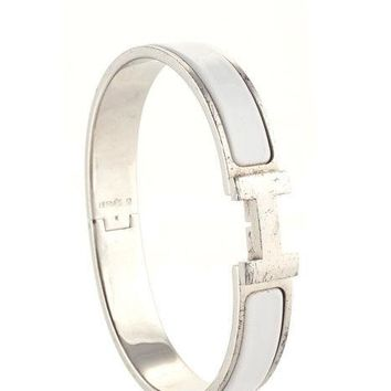 Hermes Palladium Plated White Enamel Clic Clac Bangle Bracelet