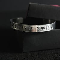 Believe In Yourself, Handmade Aluminium Bracelet