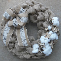 "18"" Burlap and Raw Cotton Wreath with  layered bow, southern,wedding decor"