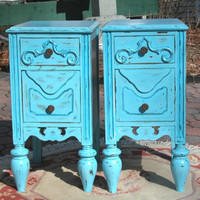 Shabby Chic Nightstands in blue Shabby Bedroom Furniture Pair of Antique Nightstands Cottage Style