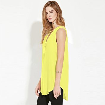 Sleeveless Solid V Neck Chiffon