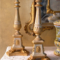 Pair of Antique Italian Painted and Gilt Carved Wooden Candlesticks Table Lamps with Parchment Lampshades