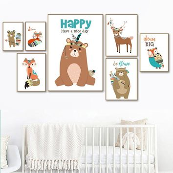 COLORFULBOY Deer Bear Fox Wall Art Canvas Painting Kid Bedroom Posters And Prints Wall Pictures For Living Room Home Decoration