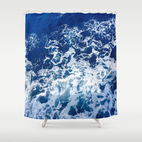 Sea Waves Shower Curtain by Jenna C.