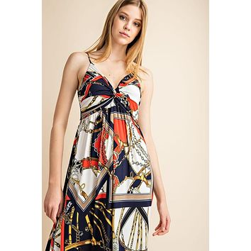Twist Front Detail Cami Maxi Dress - Ivory/Navy/Red