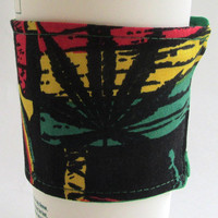 Rasta Coffee Cup Cozy / Bob Marley Inspired Pot Leaf Drink Sleeve