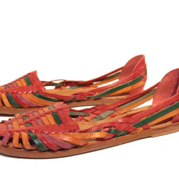 Rainbow Huaraches - Leather Woven Sandals Flats - Size 8 Women