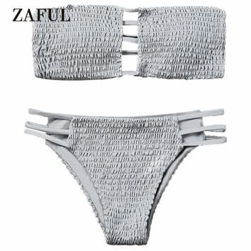 ZAFUL 2018 New Women Ladder Cut Bandeau Smocked Bikini Set Swimwear Women Swimsuit Two Piece Strapless Padded Solid Bathing Suit