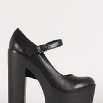 Soda Mary Jane Lug Sole Platform Pump