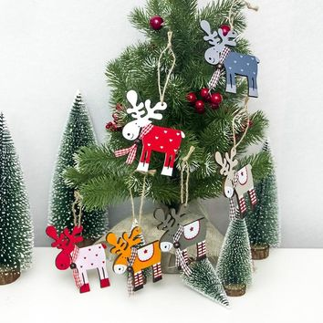 1PCS wooden painted elk Christmas Tree Decoration  Pendant  XMAS Drop Natal Ornaments Christmas Decorations For Home kids gift