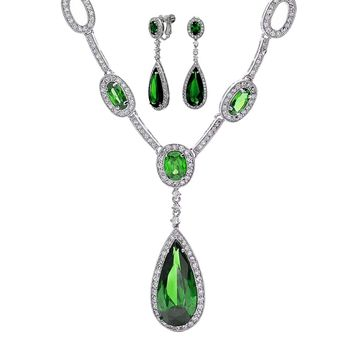 Green CZ Tear Necklace Clip On Earring Set Emerald Silver Plated