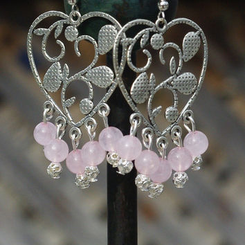 Rose Quartz Chandelier Earrings ~ Pink Heart ~ Semi Precious ~ Boho Earrings ~ Bohemian Jewellery ~ Healing Stone ~ Sweetheart Gift ~ Spring