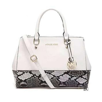 MK Stylish Serpentine Leather Satchel Crossbody Handbag Shoulder Bag White I-LLBPFSH