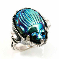 Iridescent Scarab Silver Cocktail Ring  by SwankMetalsmithing
