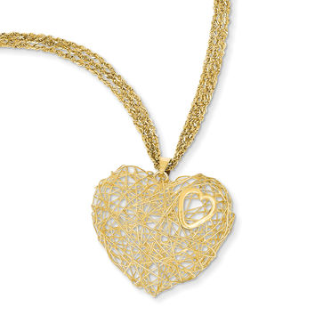 14K Adjustable Triple Strand Heart Necklace SF1705