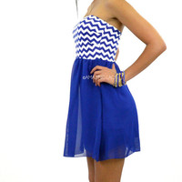 Jazzy Kate Royal Blue Chevron Tube Dress
