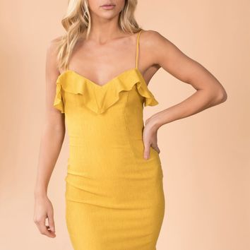 Lost In The Ruffle Mini Dress in Mustard