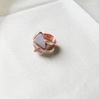 Statement Ring Chunky Adjustable Ring Blue Chalcedony Fashion Ring
