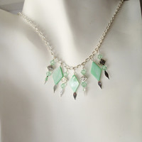 Mint necklace green necklace fringe necklace pink necklace