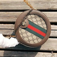 GUCCI Women Fashion New Stripe More Letter Print Round High Quality Crossbody Shoulder Bag