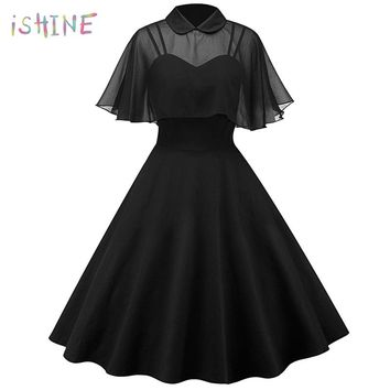 Vintage Hepburn Pin Up Spring Women Dress Chiffon Cape Retro Party Dress Vestidos Peter Pan Collar Cloak Sleeve A-Line Dress 2XL
