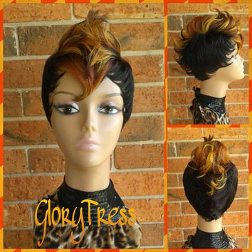 ON SALE// Celebrity Inspired Mohawk Wig, Ombre Mohawk Full Wig, Short Razor Cut Wig // FLAMES
